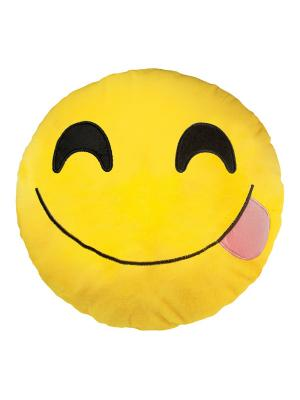 Большая подушка-смайлик Хитрый 35 см SOXshop. Цвет: желтый