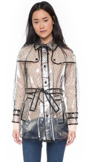 Прозрачное пальто-тренч RED Valentino. Цвет: голубой