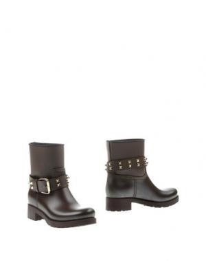 Полусапоги и высокие ботинки MÈNGHI. Цвет: темно-коричневый