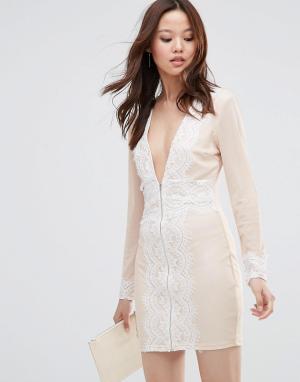 Girl In Mind Платье мини на молнии с длинными рукавами Flo. Цвет: розовый