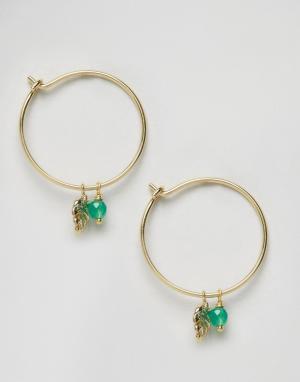 Orelia Серьги-кольца с пальмовым листом и бусиной. Цвет: золотой