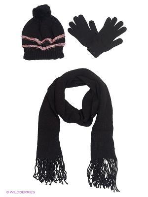 Шапка;  шарф; перчатки Krife. Цвет: черный, розовый