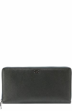 Кожаный бумажник на молнии с отделением для кредитных карт Dolce & Gabbana. Цвет: темно-зеленый