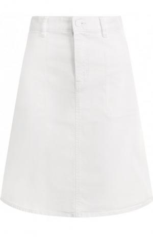 Однотонная джинсовая мини-юбка BOSS. Цвет: белый