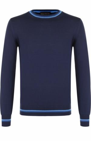Джемпер из шерсти тонкой вязки с контрастной отделкой Fabrizio Del Carlo. Цвет: синий
