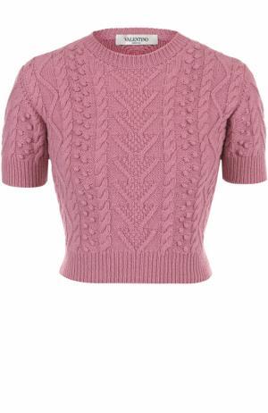 Укороченный топ фактурной вязки Valentino. Цвет: розовый