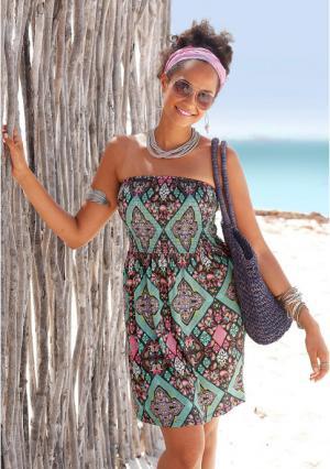 Платье-бандо Lascana. Цвет: с рисунком