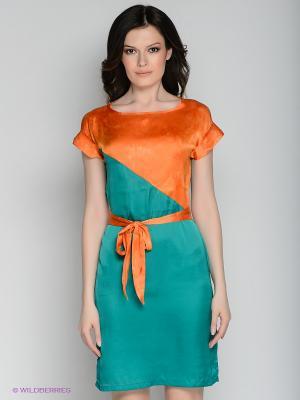 Платье Xarizmas. Цвет: оранжевый, зеленый