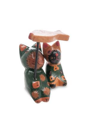 Статуэтка mini КОТ и КОШКА под зонтиком, набор 2 шт Decor & gift. Цвет: зеленый