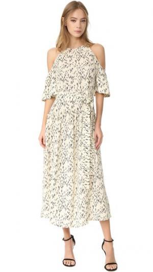 Платье с широкими рукавами Lela Rose. Цвет: белый