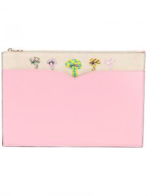Сумка с украшением в виде грибов Olympia Le-Tan. Цвет: розовый и фиолетовый