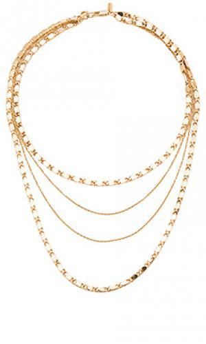 Многорядное ожерелье eiffel Vanessa Mooney. Цвет: металлический золотой