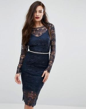 Body Frock Кружевное облегающее платье с длинными рукавами и завязывающимся поясо. Цвет: темно-синий