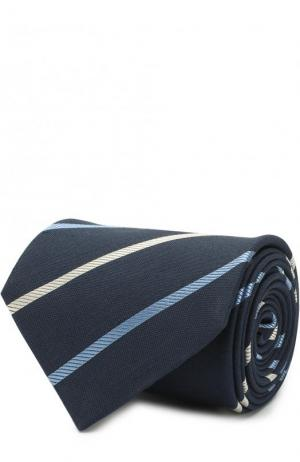 Галстук из смеси шелка и льна в полоску Brioni. Цвет: темно-синий
