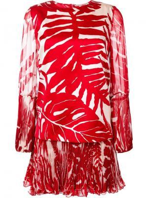 Платье с растительным принтом Ermanno Scervino. Цвет: красный
