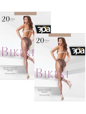 Колготки Bikini 20, 2 пары ЭРА.. Цвет: бронзовый