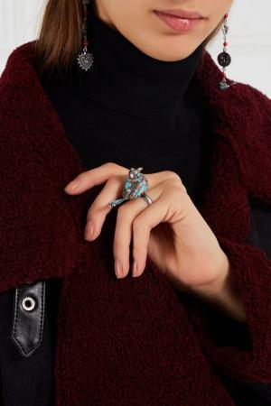 Кольцо-птичка из латуни Valentino. Цвет: multicolor