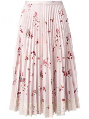 Плиссированная юбка с цветочным принтом Red Valentino. Цвет: розовый и фиолетовый