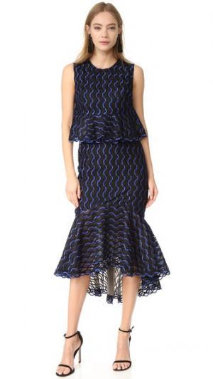 Юбка-платье с оборками Lela Rose. Цвет: бирюзовый/черный