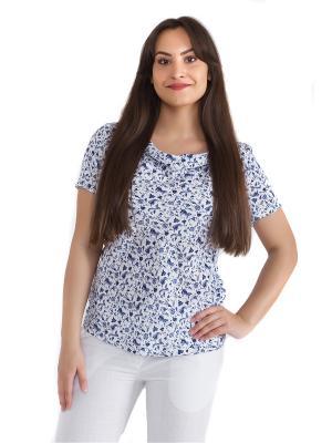 Блузка женская OLBE. Цвет: белый, синий