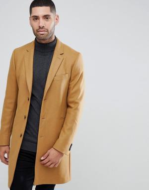PS Paul Smith Бежевое пальто из ткани с добавлением шерсти и кашемира. Цвет: рыжий