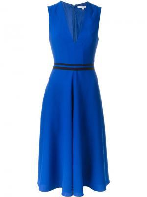 Расклешенное платье с V-образным вырезом Carven. Цвет: синий