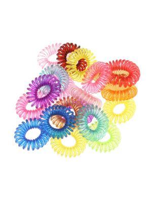 Прозрачные резинки - спиральки для волос, набор 20 штук Радужки. Цвет: светло-зеленый, голубой, красный, желтый