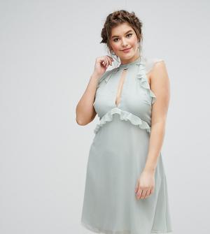 Truly You Короткое приталенное платье с рукавами-оборками. Цвет: зеленый