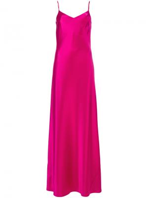Длинное платье на тонких лямках Galvan. Цвет: розовый и фиолетовый
