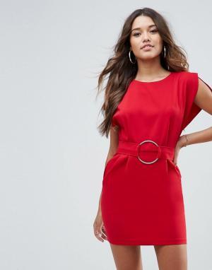 ASOS Платье мини с разрезами на рукавах и поясом кольцами. Цвет: красный