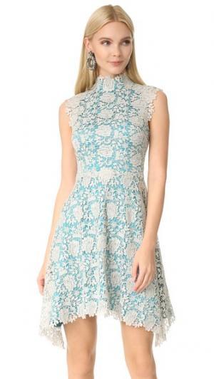 Кружевное платье Izzy с высоким вырезом Catherine Deane. Цвет: серебристый металлик/бирюзовый