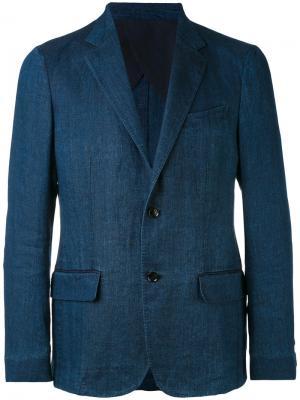 Пиджак с карманами клапанами Ermenegildo Zegna. Цвет: синий