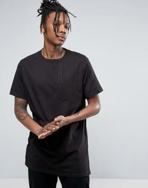 Maharishi Черная футболка с большим карманом. Цвет: черный