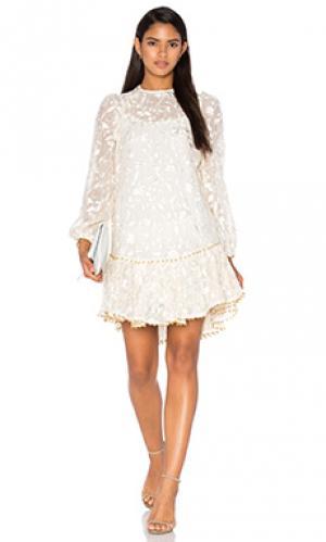 Платье с вышивкой master Zimmermann. Цвет: ivory
