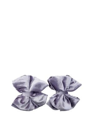 Украшение-зажим съемный на туфли Бархатные серо-лавандовые бантики SEANNA. Цвет: серый