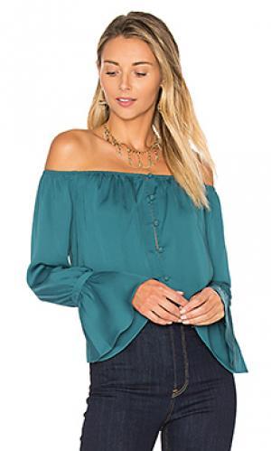 Блуза с открытыми плечами LAcademie L'Academie. Цвет: сине-зеленый