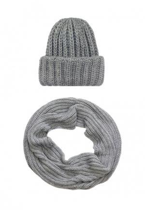 Комплект снуд и шапка Pretty Mania. Цвет: серый