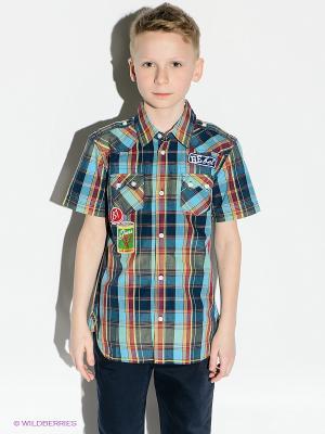 Рубашка GUESS. Цвет: темно-синий, зеленый, желтый