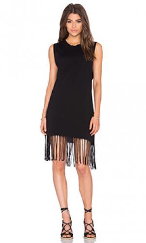 Платье в горошек Michael Lauren. Цвет: черный