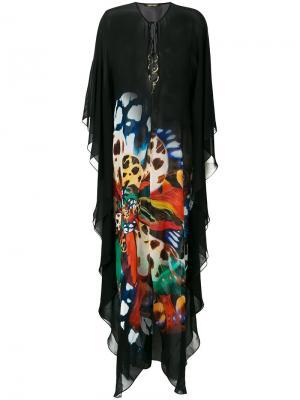 Длинное платье-кафтан Roberto Cavalli. Цвет: чёрный