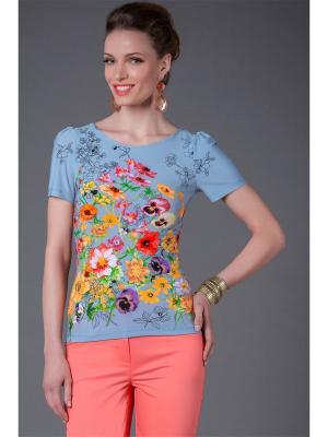 Блуза Арт-Деко. Цвет: серо-голубой, фиолетовый, красный