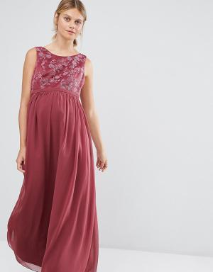 Chi London Maternity Платье макси для беременных с вышивкой на лифе Maternit. Цвет: розовый