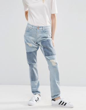 ASOS Голубые джинсы бойфренда в стиле пэчтворк с заниженной талией Bra. Цвет: синий