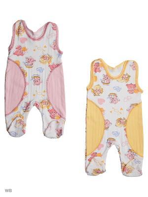 Ползунки 2 штуки Babycollection. Цвет: персиковый, желтый