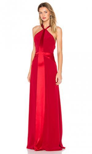 Вечернее платье с y-образными бретельками сзади JILL STUART. Цвет: красный