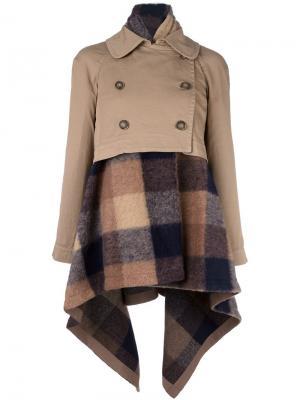 Пальто с клетчатой отделкой Semicouture. Цвет: телесный