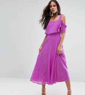 ASOS Tall Платье миди с открытыми плечами и рукавами клеш. Цвет: фиолетовый