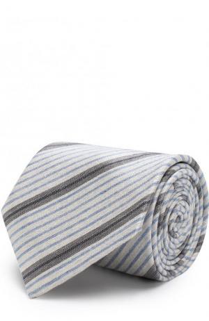 Шелковый галстук в полоску Brioni. Цвет: серый