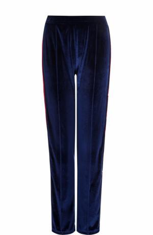 Бархатные брюки прямого кроя с контрастными лампасами Forte Couture. Цвет: синий