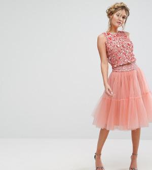 Lace and Beads Многослойная юбка миди из тюля & Co-ord. Цвет: оранжевый